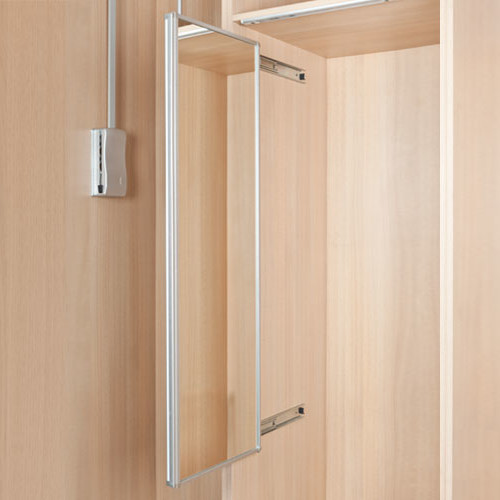 Lateral pull-out mirror for wardrobes